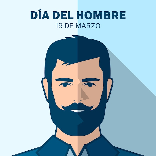 Dia del hombre illustration mit bärtigem mann Kostenlosen Vektoren