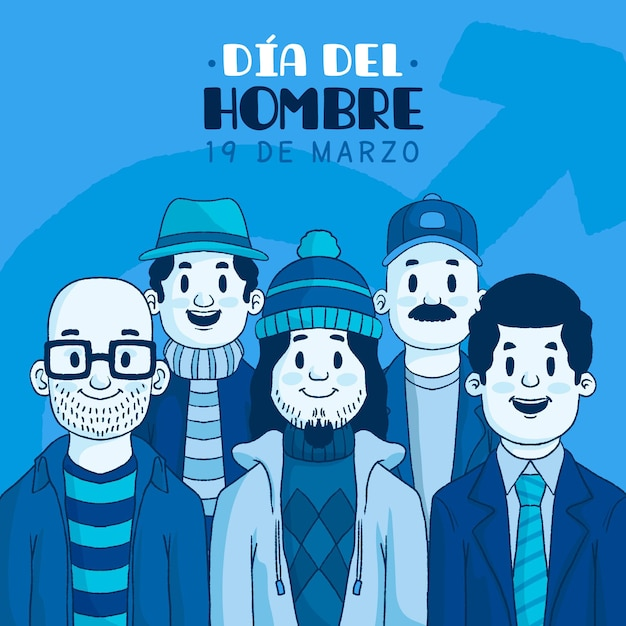 Dia del hombre illustration mit männern Kostenlosen Vektoren