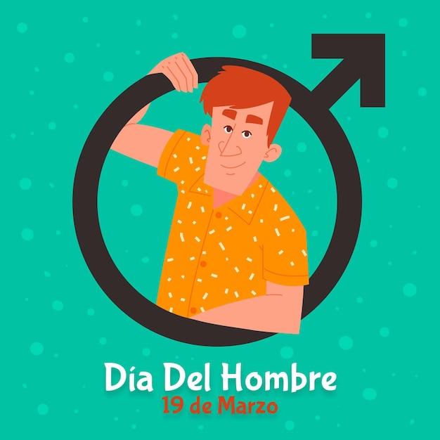 Dia del hombre illustration mit mann Kostenlosen Vektoren