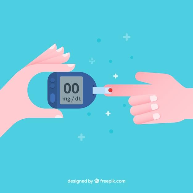 Diabetes-bluttest mit flachem design Kostenlosen Vektoren