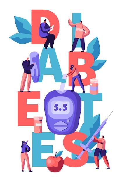 Diabetes-blutzuckerspiegel-test am digital glucometer typography banner. doktor, der zucker mit streifen-werkzeug an der blauen überwachungs-ausrüstungs-werbeplakat-flachen cartoon-vektor-illustration misst Premium Vektoren