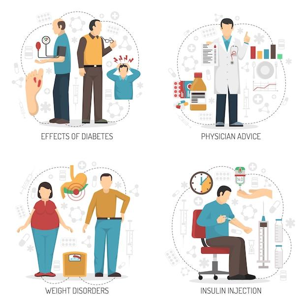 Diabetes-design-konzept Kostenlosen Vektoren
