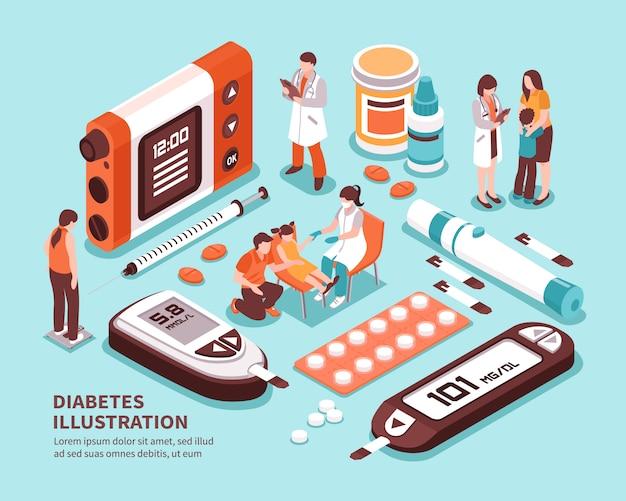 Diabetes isometrische zusammensetzung Kostenlosen Vektoren