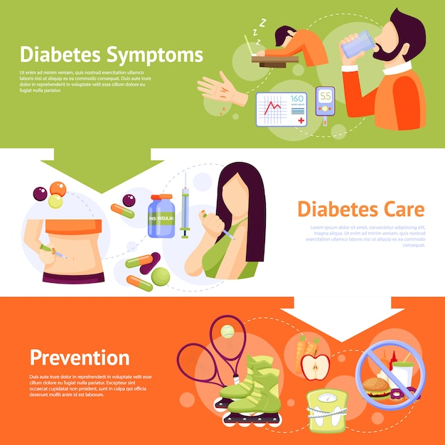 Diabetes-symptome-flache fahnen eingestellt Kostenlosen Vektoren