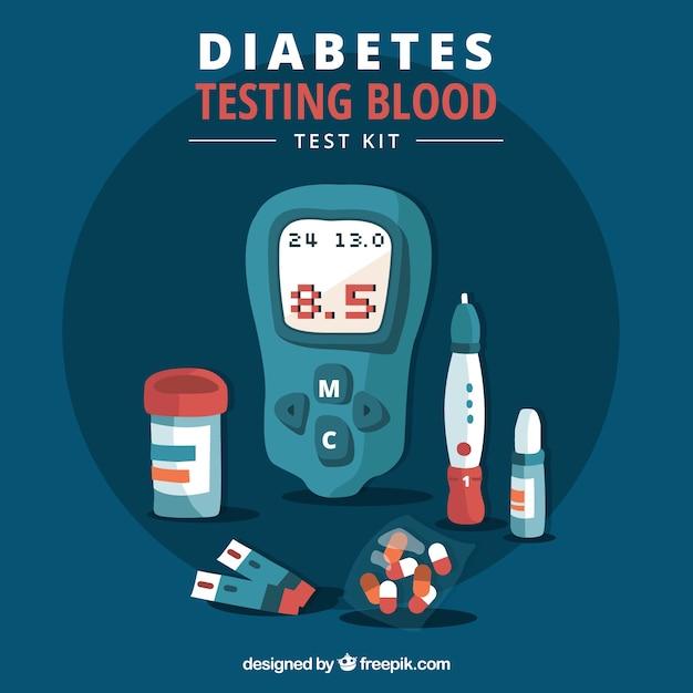 Diabetiker, die blut mit flachem design prüfen Kostenlosen Vektoren