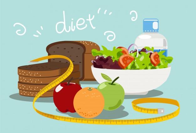 Diät-essen zum abnehmen Premium Vektoren