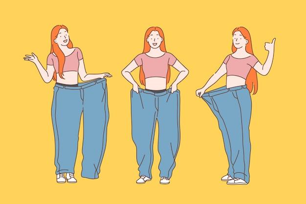 Diät, gewichtsverlust, abnehmen. Premium Vektoren