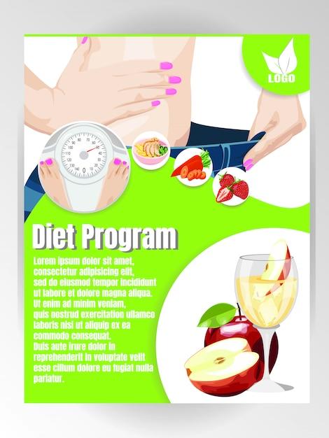 Diät und ernährung flyer vorlage Premium Vektoren