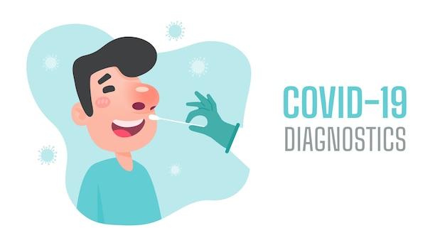 Diagnose einer nasenerkrankung des patienten zum testen auf eine coronavirus-infektion. Premium Vektoren