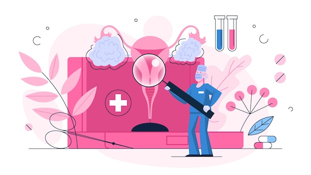 Diagnose von eierstockkrebs. idee der gesundheit und medizinischen behandlung. arzt überprüfen sie die eierstöcke. erkrankung des weiblichen fortpflanzungssystems. illustration Premium Vektoren