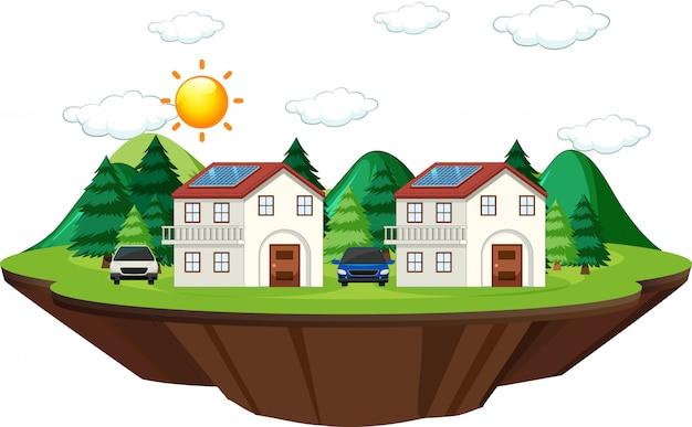 Diagramm, das zeigt, wie solarzelle zu hause funktioniert Kostenlosen Vektoren