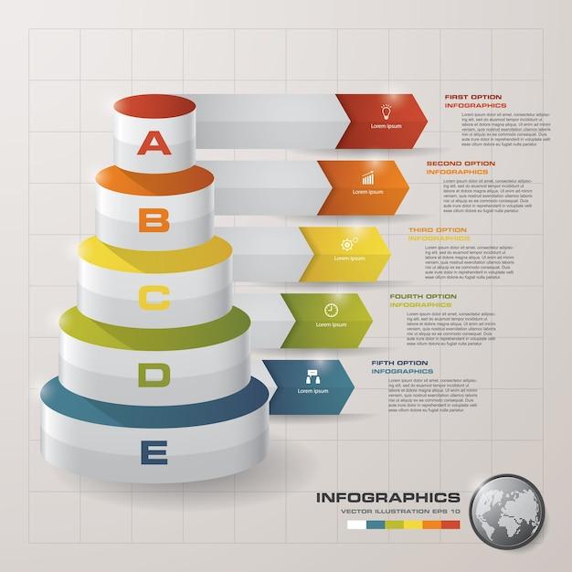 Diagramm der 5 schrittschichten Premium Vektoren
