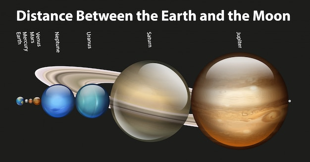 Diagramm mit verschiedenen planeten im sonnensystem Kostenlosen Vektoren
