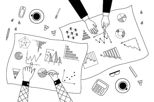 Diagramm und diagramm lineare illustrationen gesetzt Premium Vektoren