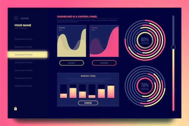 Diagramme eingestellt vom rosa armaturenbrettbenutzerpanel Kostenlosen Vektoren