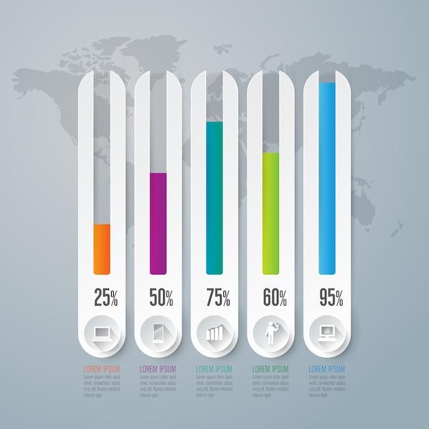 Diagrammelemente für die präsentation Premium Vektoren