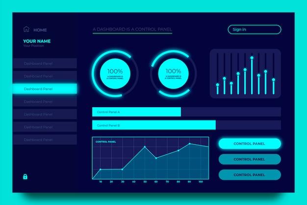Diagrammsatz des blauen armaturenbrettbenutzerpanels Kostenlosen Vektoren