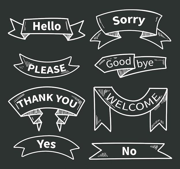 Dialogwörter auf bändern. kurze sätze. vielen dank und hallo, bitte und ja, entschuldigung und willkommen. bandaufkleber danke an der tafel. vektor-illustration Premium Vektoren