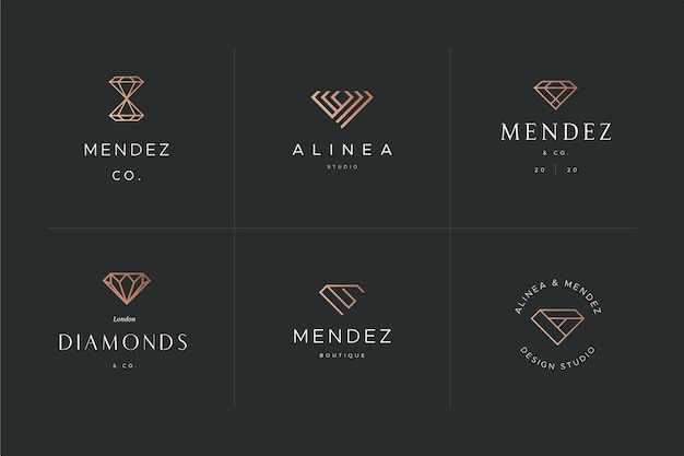Diamant-logo-schablonendesign Premium Vektoren