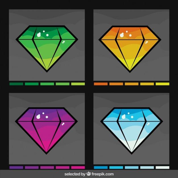 Diamanten in verschiedenen farben-sammlung Kostenlosen Vektoren