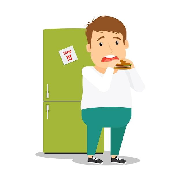Dicker mann isst hamburger Premium Vektoren