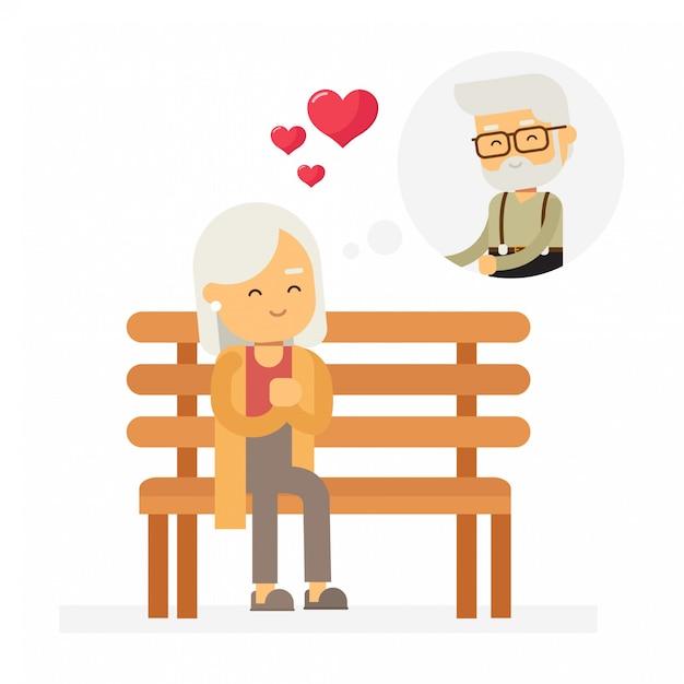 Die alte dame denkt an den mann, den sie liebt, happy valentines day. Premium Vektoren