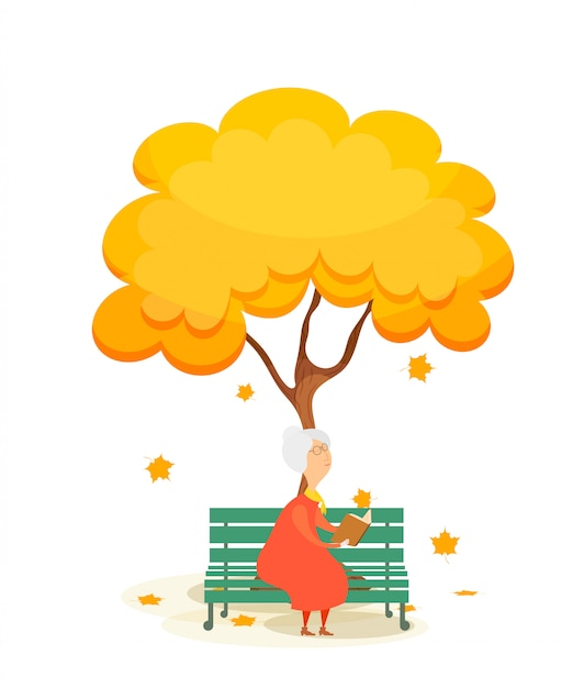 Die alte frau auf der bank. ältere frau auf einer parkbank, ein buch unter einem herbstgelbbaum lesend. fallende ahornblätter. herbstzeit Premium Vektoren