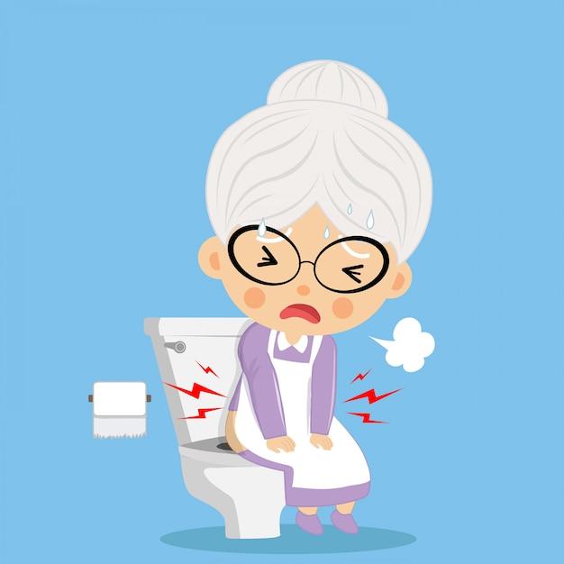 Die alte frau kotete schwer und ernst wie eine schlechte gesundheit auf der toilette. Premium Vektoren
