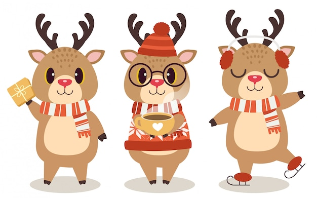 Die ansammlung der netten rotwild im weihnachtsthema auf dem weiß. Premium Vektoren