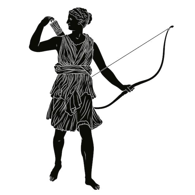 Die antike griechische göttin der jagd artemis mit pfeil und bogen in den händen. Premium Vektoren
