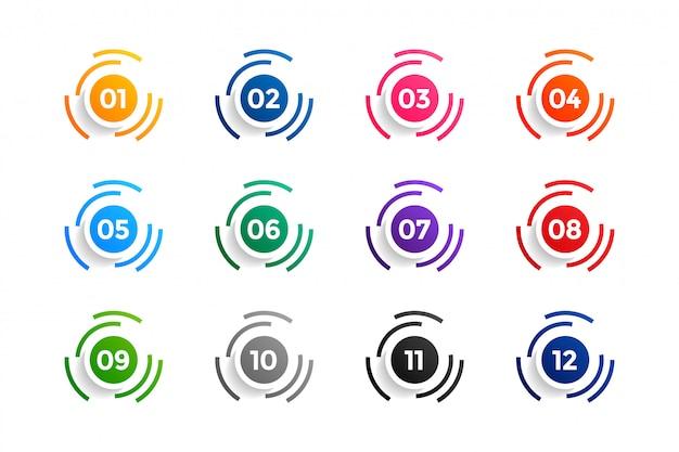 Die aufzählungspunkte der kreisnummern liegen zwischen eins und zwölf Kostenlosen Vektoren
