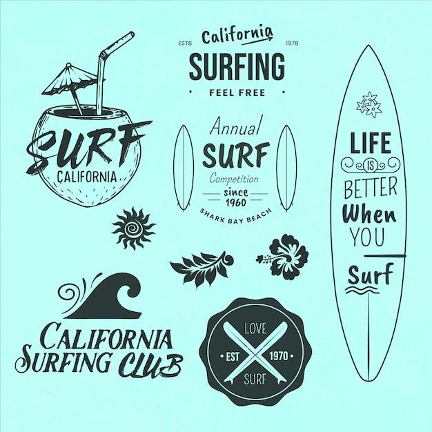 Die auswahl der surf-themen-abzeichen Kostenlosen Vektoren