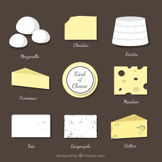 Die auswahl der verschiedenen käsesorten Kostenlosen Vektoren