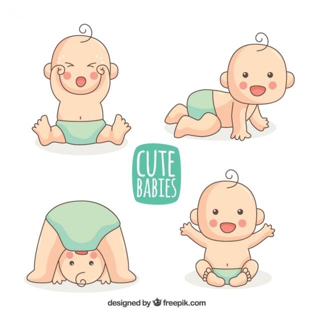 Die Auswahl von handgezeichneten Baby mit blauen Windel Kostenlose Vektoren