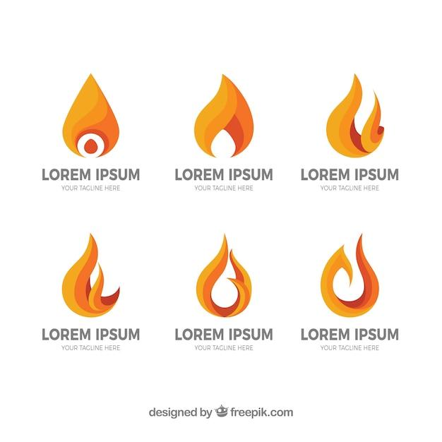 Die Auswahl von sechs Logos mit Flammen in Orangetönen Kostenlose Vektoren