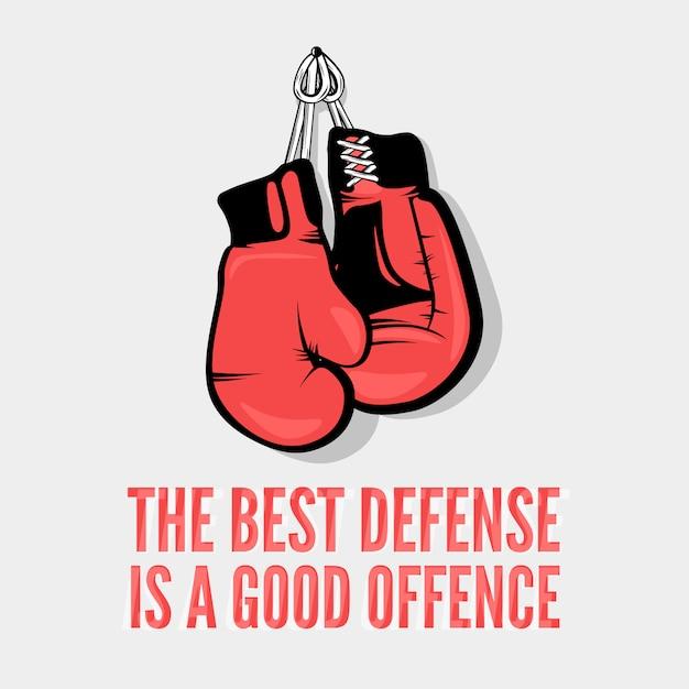 Die beste verteidigung ist eine gute beleidigung Premium Vektoren