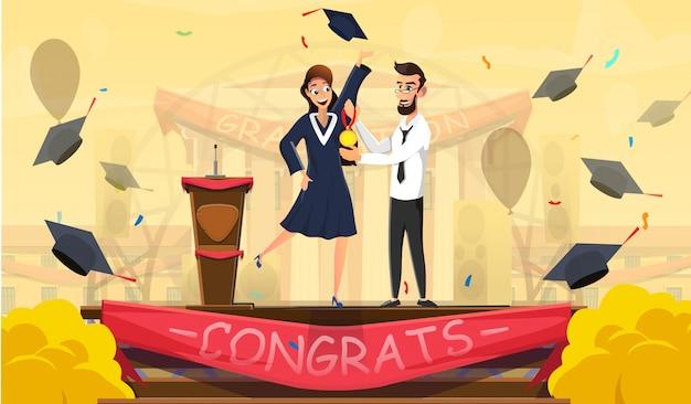 Die besten absolventen und ausgezeichneten studenten werden ausgezeichnet Premium Vektoren