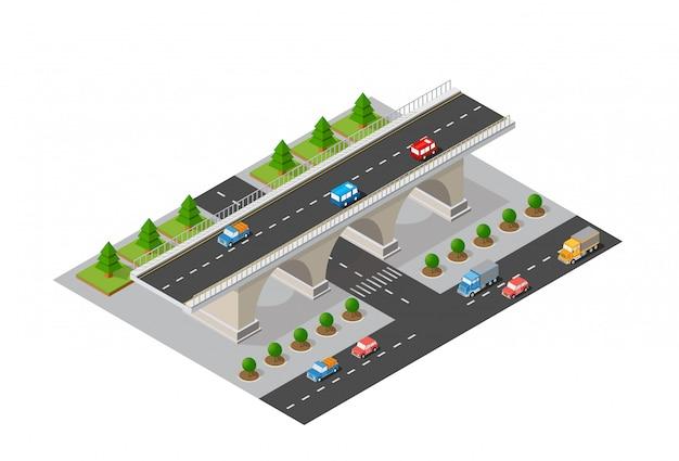 Die brücke der städtischen infrastruktur Premium Vektoren
