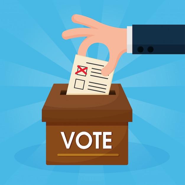 Die cartoonhände, die stimmen, werden in das braune feld gelegt Premium Vektoren