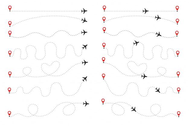 Die ebene folgt der gepunkteten linie. flüge vom ursprung zum ziel auf der weltkarte. Premium Vektoren
