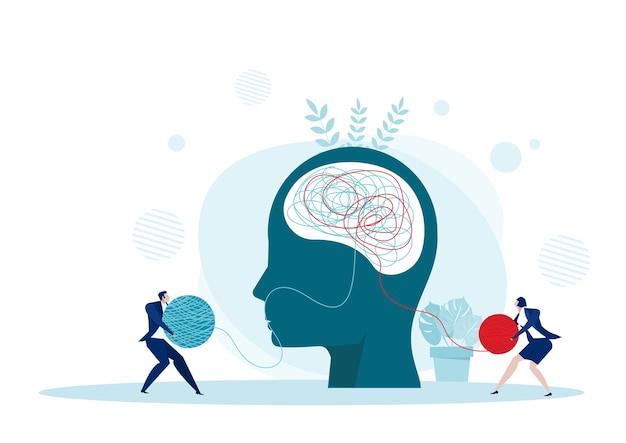 Die entgegengesetzte denkweise chaos und ordnung in gedanken konzept. illustration Premium Vektoren
