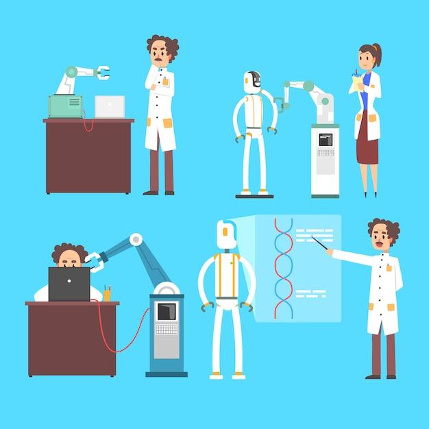 Die erfindung der wissenschaftler in der kybernetischen robotertechnikindustrie stellte das konzept der künstlichen intelligenz auf einem blauen hintergrund ein Premium Vektoren