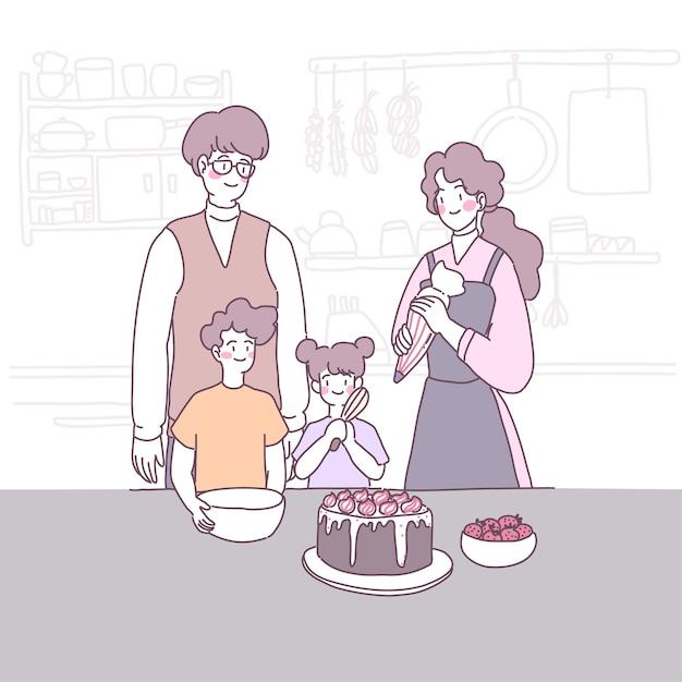 Die familie feierte einen geburtstag mit einem kuchen. Kostenlosen Vektoren