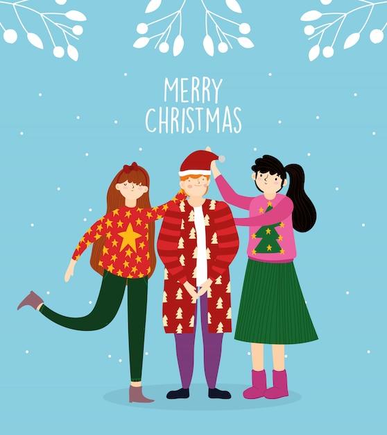 Die feierfamilie der frohen weihnachten, die hässliche strickjacke trägt, lässt schneedekoration Premium Vektoren