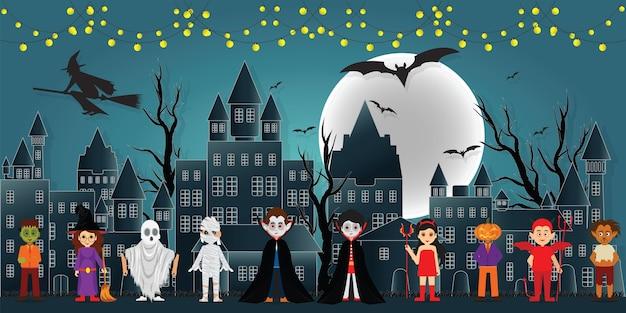 Die festivalcharaktere in der dunklen nacht halloween. Premium Vektoren