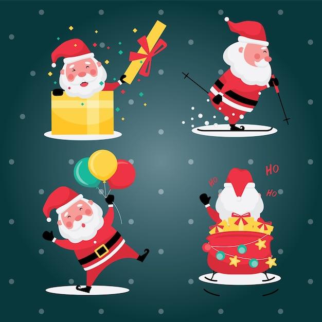 Die festliche sammlung von weihnachten und neujahr kennzeichnet bildsatz des weihnachtsmannes mit geschenk und ballon auf hellblauem hintergrund Premium Vektoren