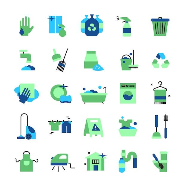 Die flachen farbikonen der reinigung, die von den haushaltseinzelteilen mit dem staubsaugereiseneimer-gummihandschuhwischbürste eingestellt werden, wischen bürste und besen lokalisierten vektorillustration Premium Vektoren