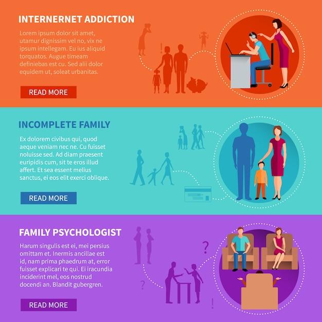 Die flachen horizontalen fahnen, die eingestellt werden, psychologische ursachen der familienprobleme darstellend, vector illustration Premium Vektoren