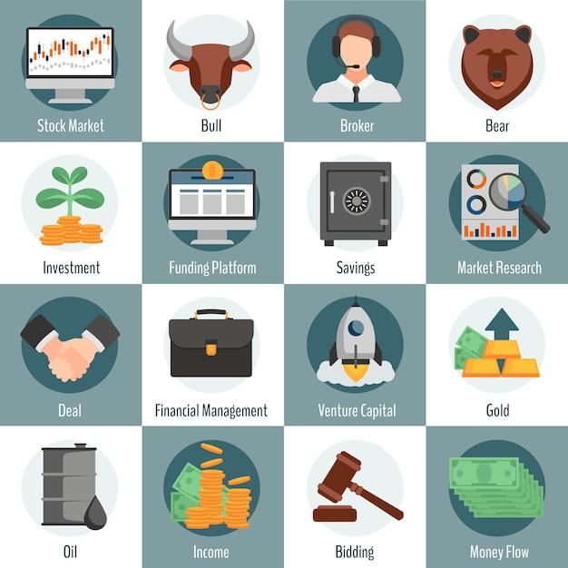 Die flachen ikonen der investition und des handels, die für webdesign mit stierbärenmaklergoldöl eingestellt wurden, das symbole bietet, lokalisierte vektorillustration Kostenlosen Vektoren