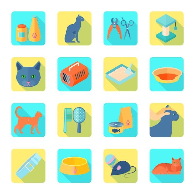 Die flachen ikonen des innenkatzensorgfaltzubehörs, die mit gesundem tierarzt eingestellt wurden, genehmigten lebensmittelzusammenfassungsschatten lokalisierte vektorillustration Kostenlosen Vektoren